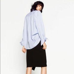 Zara Skirts - Zara Crossover Wrap Black High Waist Pencil Skirt